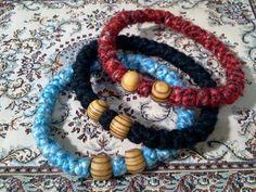 Orthodox wool greek prayer rope bracelet chotki, komboskini, rosary, black, blue, gay or red color, 33knot, wooden beads, blessed