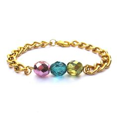 Charlotte Arm Candy Pink Teal Olive Fire Polished Czech Glass Bead Bracelet Gold Chain Bracelet Arm Candy