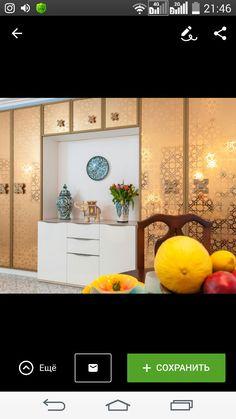 Шкаф в золотом цвете с орнаментом гирих и антрисолю. Шкаф в восточном стиле.