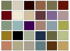 The picture above shows a basic Victorian color palette. However, since computer monitors do not accurately and consistently depict color, the photo should be considered an approximation.