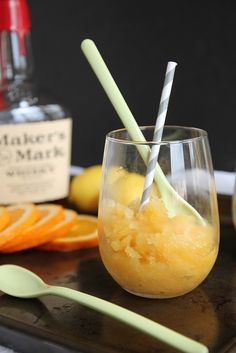 Bourbon Slush: Make it with bourbon or with rum. Either way, it's the best way to cool down on a hot, summer day. #recipe #drink #cocktail