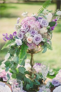 purple and gold wedding flowers
