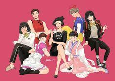 Jin, RM, Jimin, J-Hope, Kookie, V and Suga