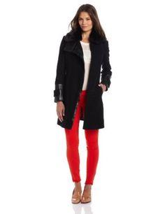Via Spiga Women's Asymmetrical Zip Front Coat with Faux Fur Collar