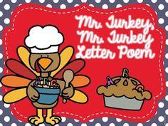 Mr. Turkey, Mr. Turkey Letter Poem Freebie