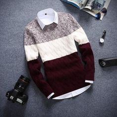 Men sweater - 2018 Brand New Sweaters Men Fashion Style Autumn Winter Patchwork Knitted Qualityheavengifs – Men sweater Mens Fashion Sweaters, Sweater Fashion, Men Fashion, Sweater Shirt, Pullover Sweaters, Men Sweater, Casual Sweaters, Winter Sweaters, Style Casual