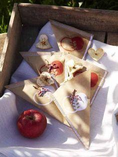 Getrocknete Apfelringe einfach in diesen selbst gebastelten Apfeltütchen verpacken.