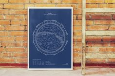 Silkscreen Print: Map I – The Northern Sky (Night-Blue) — stellavie design manufaktur