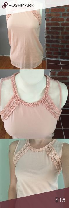 J Crew dressy tank Ballet pink top, NWOT never worn. XXS, but it's really not that small if it fits me, more like XS/S. Elegant sheer shoulder panel and some ruffled trim. J. Crew Tops Tank Tops