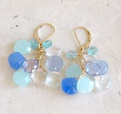 BLUE Cluster earrings with Chalcedony quartz by ChrisAllenJewelry
