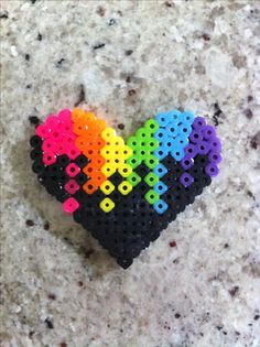 Perler beads colorful heart