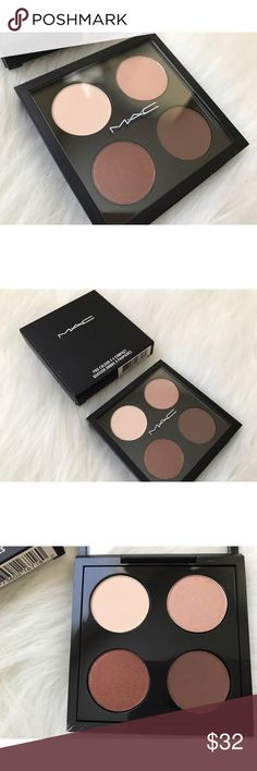 MAC PRO COLOUR EYESHADOW PALETTE ♡ AUTHENTIC AS ALWAYS ♡ BRAND NEW IN BOX ♡ CUSTOMIZABLE PALETTE WITH 4 NEUTRAL EYESHADOWS INCLUDED ♡ SOLD AS ONE UNIT/WILL NOT SEPARATE COLORS ♡ DO NOT REMEMBER THE EYESHADOW NAMES, & WILL NOT POP OUT OF PALETTE TO FIND OUT, FOR FEAR OF DAMAGING THE PRODUCTS ♡ PALETTE FITS 4 MAC EYESHADOWS OR 4 MAC CONCEALERS (REFILL PANS) ♡ NO TRADES MAC Cosmetics Makeup Eyeshadow