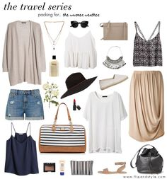 Warmer weather travel packing, travel outfits, packing tips, travel wear, t Travel Wear, Travel Outfit Summer, Summer Outfits, Casual Outfits, Cute Outfits, Travel Packing, Travel Style, Travel Outfits, Packing Tips