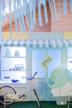 """Mayor Dylan's Charming """"My Own Little Town"""" Themed Party – Dessert station Soft Colors, Green Colors, Party Themes, Party Ideas, Striped Table, Pastel Palette, White Balloons, Green Party, Party Desserts"""