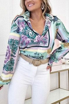 Oh Hello Clothing, Green Blouse, Printed Blouse, Lilac, Bell Sleeve Top, Satin, Prints, Pattern, Layout