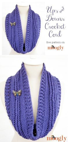 Ups and Downs Crochet Cowl - 15 Free Crochet Patterns for Trendy Winter Clothes   GleamItUp
