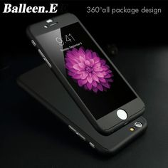 Balleen.E 360 Degrees Phone Cases For iPhone 7 6 6s Plus 5 5s SE Luxury Front Glass Film Hard PC Full Back Cover Case Capa Coque