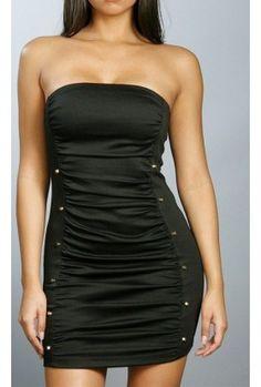 2013 Black Milan Strapless Dress.Legnth: 24 Inches.Runs True To Size.