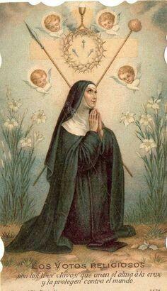 Bible Prayers, Catholic Prayers, Catholic Saints, Roman Catholic, Saint Teresa Of Avila, Vintage Holy Cards, Santa Teresa, Religious Images, Prayer Cards