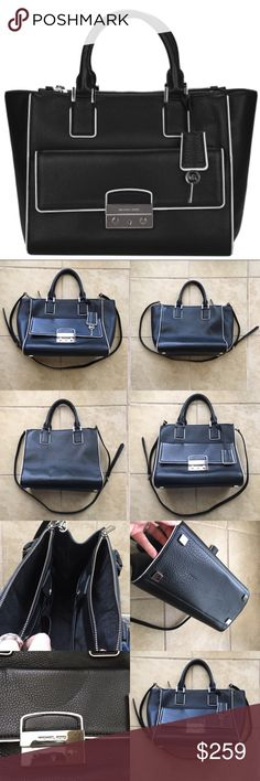"""Michael Kors Large Black Audrey Satchel Michael Kors Large Black Audrey SatchelBlack pebbled leather with contrast trim.Silver color hardware.Tote handles.Removable, adjustable shoulder strap, 22"""" drop.Snap top framed by two zip pockets.Front pocket with logo-engraved lock.Inside, monogram satin lining; one zip and four open pockets.10""""H x 15""""W x 6""""D.   Well loved and cared for with price accounting only wearing for one week. Thanks for looking! Michael Kors Bags Satchels"""