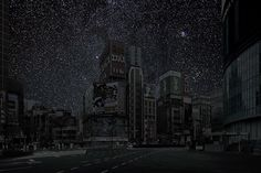 blua:    What the city is missing: Thierry Cohen photographs cityscapes and then photographs deserts at night, combing the two to show us what our cities would look like with the lights off. The stars are not enhanced, they are actual photos from relative latitudes that would expose the same starry sky view if it weren't for light pollution. Click on each photo to see which city it is.