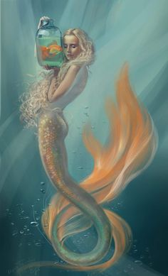 A very lovely mermaid with a orange colored tail holding a goldfish in a jar. - A very lovely mermaid with a orange colored tail holding a goldfish in a jar. I love her soft blond - Mermaid Artwork, Mermaid Drawings, Art Drawings, Paintings Of Mermaids, Anime Mermaid, Siren Mermaid, Tattoo Mermaid, Mermaid Hair, Fantasy Mermaids