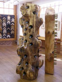 natural wood wine rack