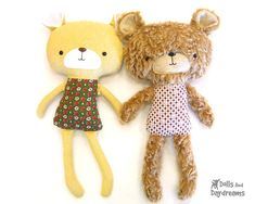 "This sewing pattern is to make a child friendly stuffed toy Teddy Bear that is 18"" (45.7 cm) tall (excluding ears) from cotton and felt"