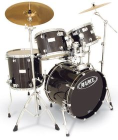 Mapex Saturn Series Walnut and Maple Manhattan 4-Piece Drum Set in Transparent Black Lacquer Finish - Digital Guitarist