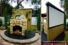 "Saw this on an episode of  Yard Crashers. -- Rotating pizza oven/ 100"" movie screen. What a fantastic idea for a backyard!"