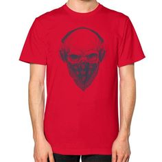 Skull with Headphones Unisex T-Shirt (on man)
