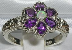 English 925 Sterling Silver Genuine Natural Real Fiery Opal & Amethyst Victorian Style Ring - Made in England - Supplied in Your Finger Size...