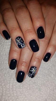 Navy Blue Snowflake nails #winternails
