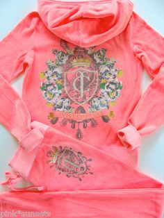 Juicy Couture Iconic Velour Hoodie Pants Tracksuit Pop Candy Pink
