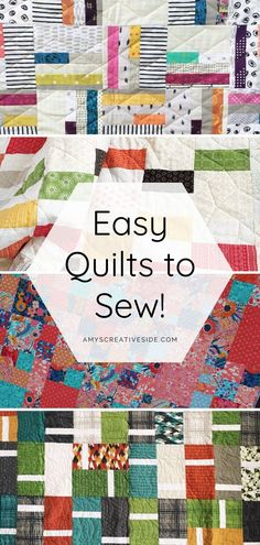 Easy Quilt Patterns for Modern Quilts. Seven easy modern quilt designs easy enough for a beginner to sew. Beginner Quilt Patterns, Quilting For Beginners, Quilting Tutorials, Beginner Quilting, Longarm Quilting, Quilting Fabric, Loom Patterns, Quilting Patterns, Machine Quilting
