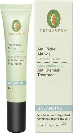Primavera Balancing Anti Blemish Treatment - This gentle and lightweight quick-absorbing gel minimises the appearance of pores and removes excess oil without over drying. Sage & Grape Seed Oil is ideal for Combination and Oily Skin. Reduces blackheads. Heals blemishes. Softens rough areas of the skin. Made with Organic Ingredients. NATRUE Certified. Vegan.
