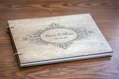 Gästebuch Hochzeit aus Holz mit Gravur - Rustikal