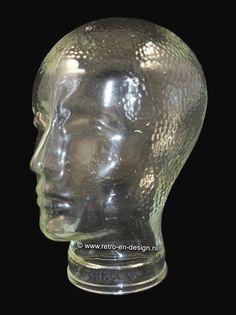 Vintage glazen hoofd of kop jaren 70