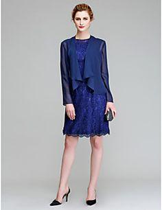 Lanting Bride® Pouzdrové Šaty pro matku nevěsty Ke kolenům Dlouhý rukáv  Šifón   Krajka - 95b3d8ddf9a