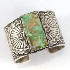 """Sterling Silver Cuff Bracelet with Intricate Hand Stamped Designs and set with Natural Pilot Mountain Turquoise from Nevada. 1.625"""" Cuff Width 5.5"""" Inside Measurement, plus 1"""" opening (6.5"""" Total Circ"""