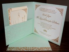 Aqua pocket folder wedding invitation from Arabella Papers. Customize  yours with Paper Passionista.