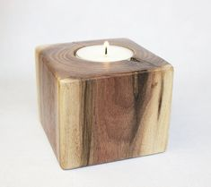 Hand Wrought Black Walnut Wood Tea Light Candle Holder with Soy Candle - Light Medium and Dark Wood