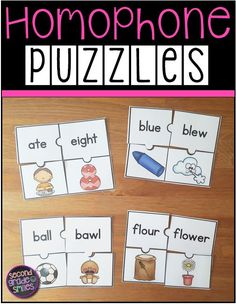 Teaching homophones?  Check out these fun hands-on puzzles!  They work great as literacy center activities and my 2nd graders  love them!