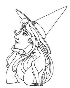 Halloween Coloring Page witch Halloween Coloring Pages, Cool Coloring Pages, Colouring Pics, Adult Coloring Pages, Coloring Books, Coloring Sheets, Halloween Food Crafts, Halloween Doodle, Fall Halloween