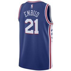 Nike Men's Joel Embiid Philadelphia 76ers Icon Swingman Jersey ($110) ❤ liked on Polyvore featuring men's fashion, men's clothing, men's activewear, blue, mens nba jerseys, mens jerseys, mens clothing and nike mens apparel