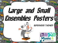 Large and Small Ensembles Posters- Superhero Theme- Posters to help teach large and small ensembles with a superhero theme (solo, duet, trio, quartet and orchestra, jazz band, choir, jazz band) #teacherspayteachers #musiceducation #classroomdecorations