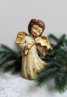 Vintage Angel Playing Violin Statue Retro Paper Mache Plaster Figurine, Gold Cream, Christmas Decor by vintagenowandthen on Etsy