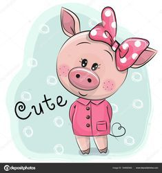 cute cartoon pig isolated on a white background animals