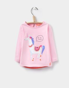 Ava Rose Pink Unicorn Applique Jersey Top  | Joules UK