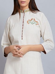 3cc19052c78 Buy Light Grey Embroidered Cotton Silk Kurta online at Theloom Kurti  Embroidery Design, Embroidery On